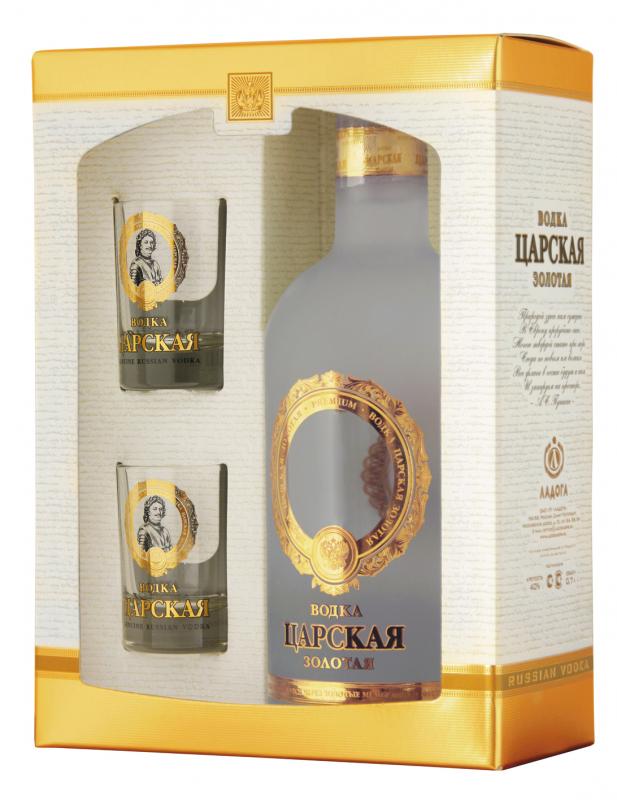 Vodka Carská Zlatá 40% 0,7l - dárková sada+sklo